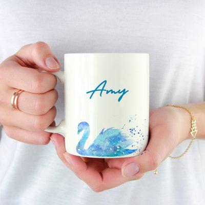 10004A - Abstract Swan Design Mug