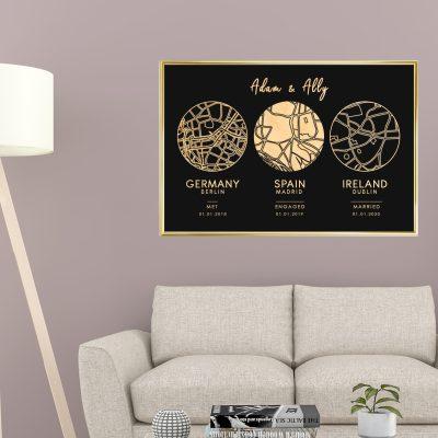 Romantic Travel Map - Framed Foil Poster
