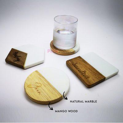 Marble and Mango Wood Coaster